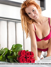 Ingrid nude in erotic RED..