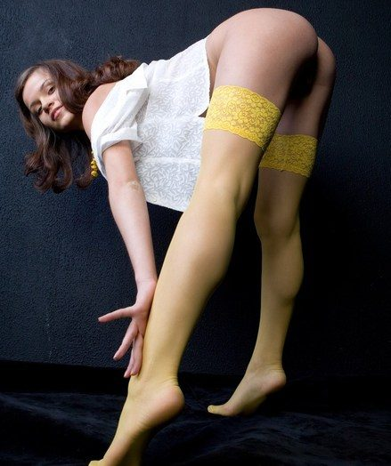 Stockinged model displaying a difficulty underwood legs, butt, coupled with labia.