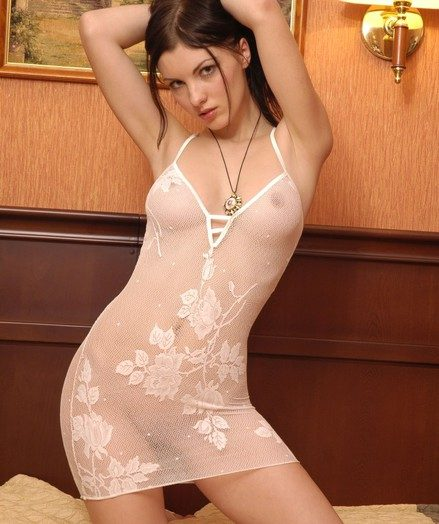 Mind-blowing Polina undresses the brush cock-squeezing see-thru crowd sundress